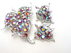 Sarah Coventry AB Rhinestone Silver Brooch Earrings Set Vintage
