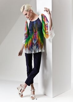 Pleated colorful tunic. KRISS Sweden Comme, Sweden, Kimono Top, Tunic, Colorful, Blouse, Spring, Tops, Fashion