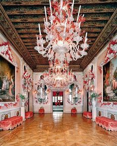 "Buzz Kaplan (@buzzonantiques) on Instagram: ""The Coral Ballroom at the 12th Century Palazzo Brandolini on the Grand Canale in Venice, Italy…"" Design by Tony Duquette & Hutton Wilkinson"