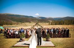 Rustic mountain wedding, so pretty in the fall!