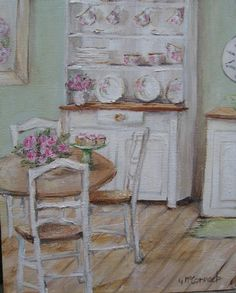 Original Whimsical Painting - The Shabby Chic Kitchen - Postage is included Australia Wide