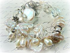 Chunky pearl bracelet, white pearl bridal bracelet,... MODERN CINDERELLA. $62.00, via Etsy.