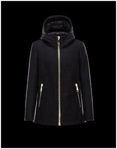 485430d79c37 Nuovi Moncler ARBU Fixed Hood Turtleneck Nero Parka Wool Flannel Donna - Moncler  Parka Donna Outlet Online.