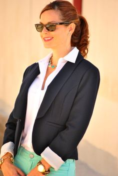 Business casual outfit - navy blazer, mint jeans, white blouse and leopard heels. #business #casual #outfit http://getyourprettyon.com/i-feel-pretty-in-jeans-and-a-blazer-for-work/