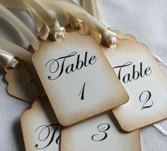 Vintage Style Table Number Tags - Wedding Table Number Tags. $1.65, via Etsy.