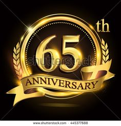 65th golden anniversary logo with ring and ribbon, laurel wreath design. - stock vector