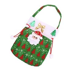 Cute Kids Christmas Candy Pouch Bags Christmas Gift Bags Green Santa Claus >>> Details can be found by clicking on the image.