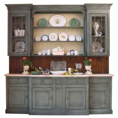 9' Custom Hutch As Shown With Extras $5,650.00 (€5.145) ❤ liked on Polyvore featuring home, furniture, storage & shelves, door furniture and colored furniture