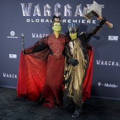 Jamie Lee Curtis and Thomas Guest from Movie Premieres: Red Carpets and Parties!  The Scream Queens actress and her son get really into the Warcraft premiere in Hollywood.