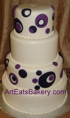 Four tier round purple circles and polka dots custom fondant wedding cake design Fondant Wedding Cakes, Wedding Cakes With Cupcakes, Cupcake Cakes, Polka Dot Party, Polka Dots, Traditional Wedding Cake, Fall Wedding, Dream Wedding, Cake Decorating Tips