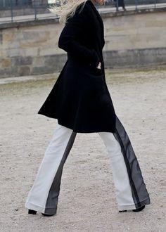 Black & white trousers.