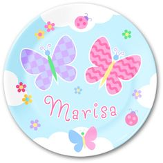 Spring will be in the air all year round with this personalized Butterfly Garden plate! $24.99