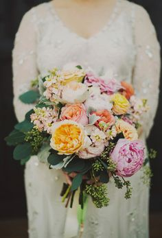 peony and garden rose bouquet, photo by Ariel Renae, flowers by Juli Vaughn http://ruffledblog.com/peach-and-gold-georgia-wedding #flowers #bouquet #peony