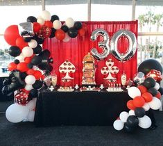 Casino Theme Birthday Party Dessert Table and Decor Birthday Party Desserts, 30th Birthday Parties, Surprise Birthday, 30th Party, Las Vegas Party, Casino Night Party, Casino Party Decorations, Casino Theme Parties, Themed Parties