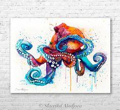 Octopus  watercolor painting print by Slaveika Aladjova, art, animal, illustration, Sea art, sea life art, home decor, Wall art