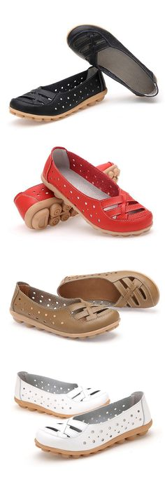 $14.97 Leather Pure Color Hollow Out Breathable Soft Sole Slip On Flat Shoes