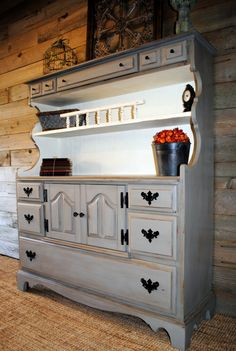 Hutch done in Annie Sloan French Linen and Old White Chalk Paint.  #AnnieSloan
