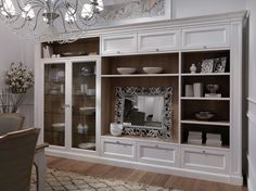 Library in natural cherry wood and white lacquered