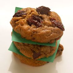 A Christmas favorite -- gingerbread -- puts a festive spin on classic chocolate chunk cookies. Dried cherries add a tart twist./