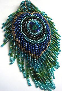 Bead Embroidery Peacock Feather