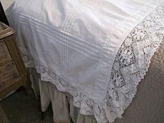 Vintage Bedding, Lace Pillow Cover,Tucks and Wide Hand Made Lace, .../