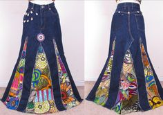 Beautiful Denim Upcycled Hippie Gypsy Ethnic Patchwork Beaded Maxi Full Length Wide Skirt sm-med. $120.00, via Etsy.