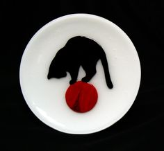 Cat On Ball Plate by jbls on Etsy https://www.etsy.com/listing/161880494/cat-on-ball-plate