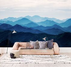 Misty Mountain fondos montaña brumosa silueta pared por DreamyWall