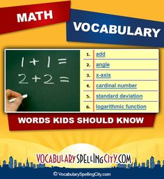 These comprehensive math vocabulary lists are based on the Common Core State Math Standards and are organized by grade level.