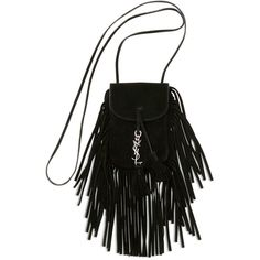 Saint Laurent Anita Mini Flat Suede Shoulder Bag with Fringe (1.910 BRL) ❤ liked on Polyvore featuring bags, handbags, shoulder bags, black, mini handbags, fringe handbags, studded shoulder bag, fringe shoulder bag and studded handbags