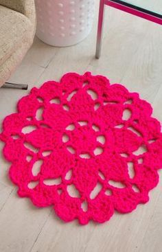 Pretty in Pink Rug Free Crochet Pattern from Red Heart Yarns