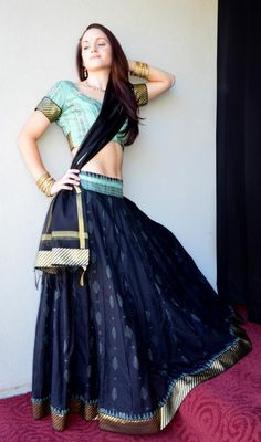 Gopi Skirt Outfit Black with Mint Green | Dancing Gopi Skirt Outfits