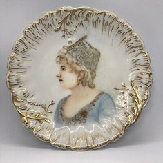 Vtg Portrait Plate Painted Woman Gold Blue Scalloped Edge French Portraitware  | eBay