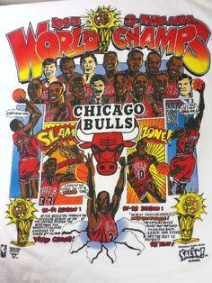 Vintage Chicago Bulls Michael Jordan Caricature Deadstock 90s Mens Large T Shirt #SalemSportswear #GraphicTee