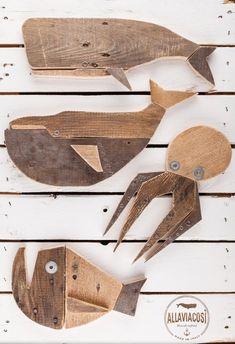 Wooden Art, Wood Wall Art, Wood Fish, Whale Art, Wood Painting Art, Nautical Art, Nautical Design, Wooden Animals, Driftwood Art