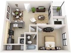 Plano De Casa De 1 Habitacion | Planos de casas modernas