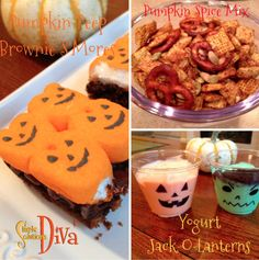 Halloween is all about the Tricks or Treats – Well, I love the treats! I have some simple recipes here for Halloween that will put a smile on your goblin's face! Pumpkin Peeps Brownie S… Easy Halloween Food, Halloween Treats, For Your Party, Yogurt, Food To Make, Muffin, Easy Meals, Pumpkin, Make It Yourself