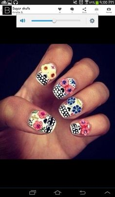 OMG LOVE! I would paint on the flower eyes tho. Putting those cane slice ones would b too bulky n come off immediately. Gonna have to try this soon... (after i do the converse shoes nails i saw n adore. LOL)