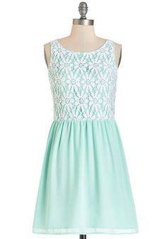 The Sea and Me Dress - Mint, White, Lace, Casual, Pastel, A-line, Sleeveless, Summer, Woven, Better, Scoop, Mid-length, Lace