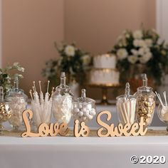 Items similar to Gold Love is sweet sign / Wedding decorations / Awesome wedding wall decor / Food table sign on Etsy Sweet Table Wedding, Wedding Sweets, Sweet Tables, Wedding Candy Table, Wedding Dessert Tables, Wedding Cupcake Table, Bridal Shower Desserts, Bridal Shower Tables, Wedding Shower Drinks