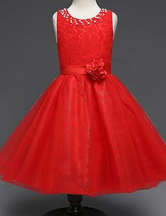 Ball Gown Princess Knee Length Flower Girl Dress - Lace Tulle Sleeveless  Crew Neck with Beading 3ba9ab5daa9c