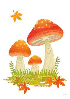 cute happy mushrooms