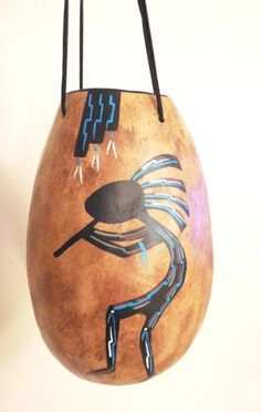 Kokopelli Painted Hanging Gourd Basket with Leather Ties | ConsciousArtStudios - Folk Art & Primitives on ArtFire