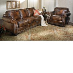 The Dump Furniture Rocky Mountain Leather Sofa Pecan