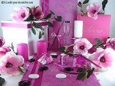 Sur votre table, déposez quelques #perles de #pluie (http://www.decodefete.com/perle-pluie-fushia-p-1421.html) et, pour couper avec le rose, ajoutez des galets (http://www.decodefete.com/galets-verre-transparent-p-957.html) .