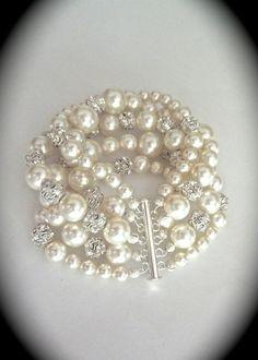White pearl Bracelet Rhinestone and pearls by QueenMeJewelryLLC, $89.99