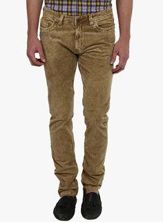 Buy Red Flame Beige Washed Regular Fit Trouser for Men Online India, Best…