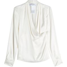 Max Mara Silk Blouse featuring polyvore, women's fashion, clothing, tops, blouses, white, white top, white silk top, maxmara, silk top and white blouse