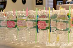 Free Printable Water Bottle Label Wraps for a Girls Birthday Party from www.mom4real.com