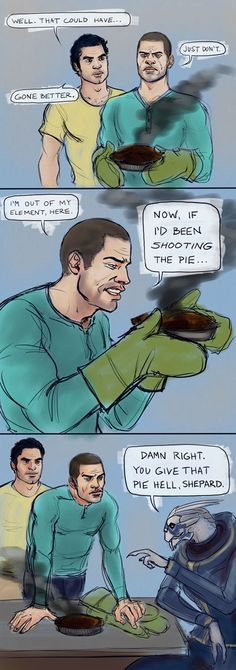 Mission Fail - The men of Mass Effect make a pie.